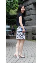 metallic Tiffany & Co bag - mini Joe Fresh skirt - drapy banana republic blouse