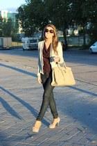 off white Zara jacket - navy Mango jeans - beige BLANCO purse