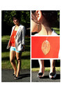 Cream-silence-noise-blazer-sky-blue-talula-shorts-gold-aldo-necklace
