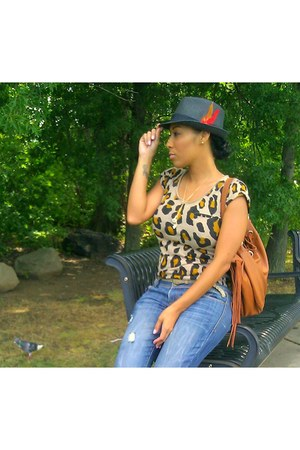 Blue dress - Forever 21 hat - Zara shirt - brown Aldo bag