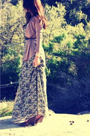 camel maxi floral H&M dress - dark brown woven wedges Steve Madden wedges