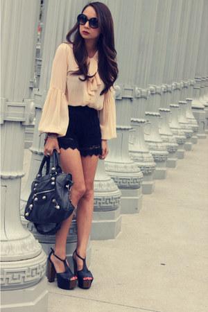 black lace unknown brand shorts - black giant city balenciaga bag