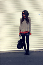 tawny polka dots unknown brand blouse - black chunky Dolce Vita boots