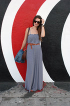 navy maxi Rachel Pally dress - dark brown jw hulme bag - red Shoe Mint sandals