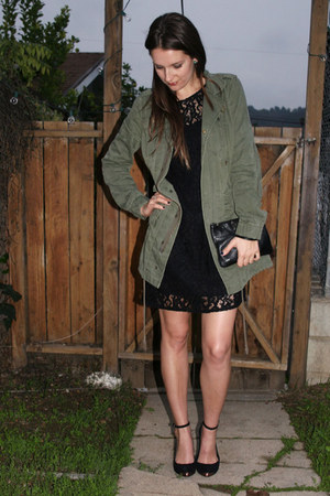 olive green free people jacket - black lace madewell dress