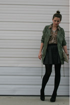 black cashmere Zara tights - army green free people jacket