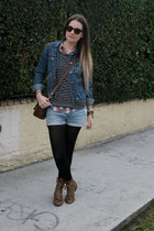 blue denim Gap jacket - dark brown Jeffrey Campbell boots