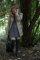 tan nastygal jacket - heather gray asos dress - charcoal gray socks - black Stev