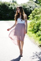 light pink Dorothy Perkins skirt - white Bik Bok top