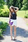 Amethyst-mojito-bag-white-zara-shorts-black-bianco-heels