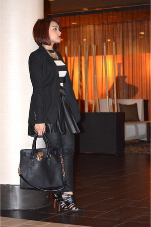 faux leather vera wang skirt - Zara blazer - hamilton Michael Kors purse