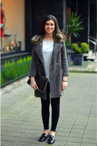 fur collar Zara coat - Zara leggings - Zara shirt - studs Primark bag