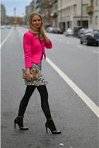 black leopard Zara skirt - hot pink print Primark jacket