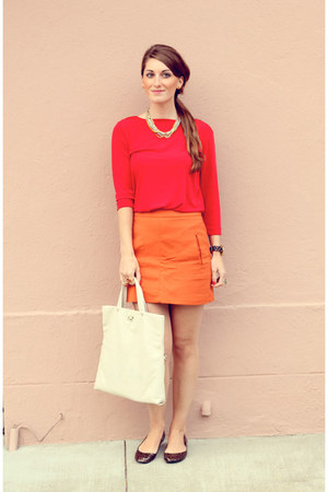 Bernardo jacket - red thrifted vintage shirt - white kate spade bag - Gold & Cit