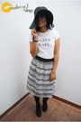 Floppy-hat-hat-i-love-karl-shirt-striped-lmdv-skirt-forever-21-heels
