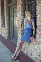 blue denim DIY dress - gold Belle Sigerson Morrison sandals
