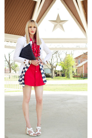 navy denim clutch self-made bag - red shirtdress self-made dress