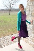 Express cardigan - full Lapis skirt - v neck unknown t-shirt - ruffled Liliana h