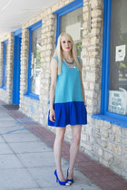 turquoise blue drop waist DIY dress - blue cap toe DIY pumps