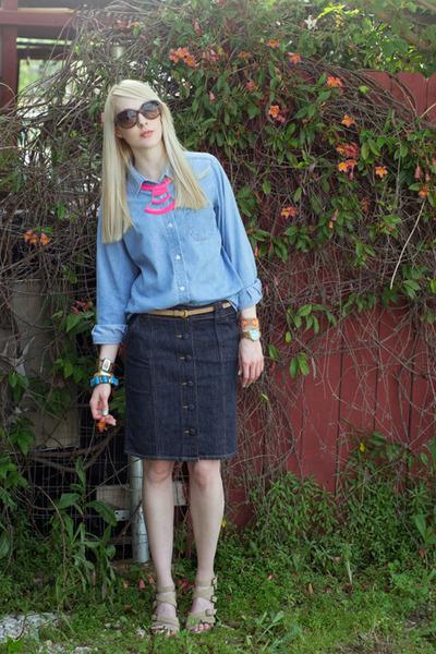 light blue denim thrifted shirt - navy denim proenza schouler for target skirt