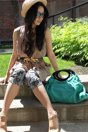 turquoise blue Marni bag - light brown vintage vest - dark brown vintage belt