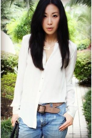 white silk Zara blouse - blue Celine bag - tan silver chain Celine sandals