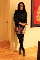 dark gray Zara jacket - heather gray Zara dress - black winners leggings - ameth