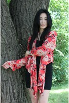 black H&M dress - coral silk kimono Elizabeth & James jacket - charcoal gray woo
