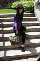 black J Brand jeans - brown besace YSL bag - purple Le Boudoir t-shirt
