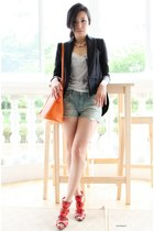 orange bolide Hermes bag - black cutaway Zara jacket