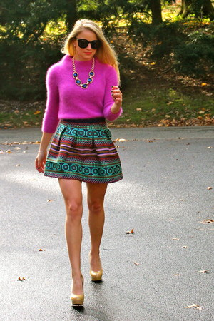 Anthropologie skirt - Anthropologie sweater - Pink & Purple Rocks necklace
