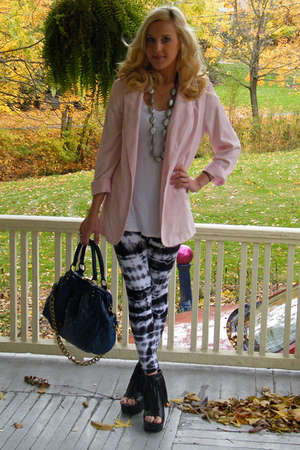 thrifted blazer - H&M top - TJ Maxx leggings - Friends necklace - Forever 21 pur