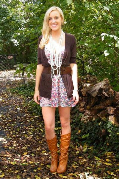 Target sweater - Forever 21 belt - Forever 21 dress - Forever 21 necklace
