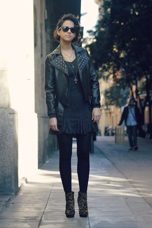 perfecto Forever 21 jacket - leopard asos boots - chicnova dress