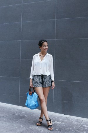 black etam shorts - blue longchamp bag - ivory carolina sarda blouse