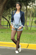 blue BLANCO blazer - denim shirt H&M shorts - stripe - navy H&M t-shirt - cream