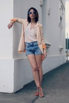 Ecugo blazer - high waisted H&M shorts - H&M blouse