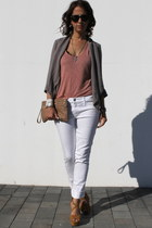skinny jeans H&M jeans - new look blazer - studded clutch BLANCO bag
