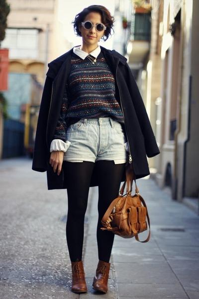 Zara coat - Zara boots - H&M sweater - H&M tights - Levis shorts