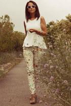 peplum H&M top - round H&M sunglasses - floral print pull&bear pants