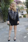 Black-biker-topshop-jacket-gold-clutch-h-ampm-bag