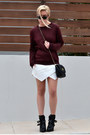 Buckled-zara-boots-chain-cross-bag-asos-bag-wrap-skort-zara-skirt