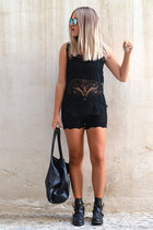 black buckled Choies boots - black lace shorts Sheinside shorts