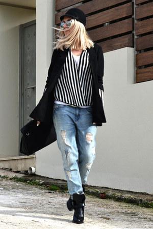 black Zara boots - blue boyish Zara jeans - black H&M hat