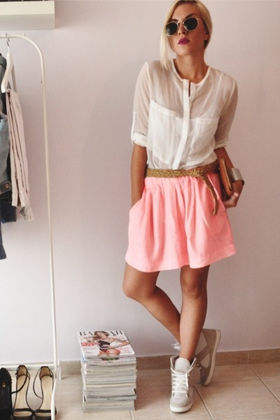 salmon skater skirt Zara skirt - white sheer shirt romwe shirt