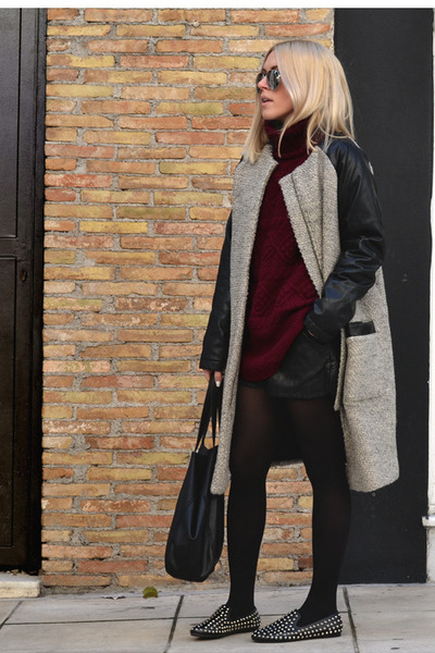 Oversized-nowhere-coat-burgundy-h-m-sweater-h-m-bag-leather-oasap-shorts