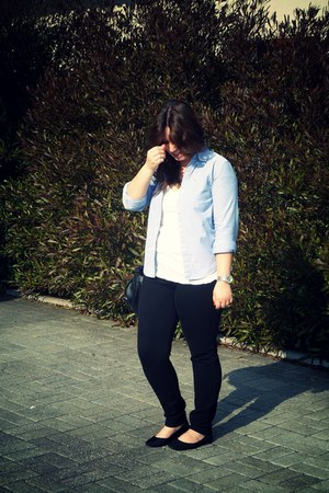 balck jeggings Zara leggings - Ralph Lauren shirt - black Stradivarius bag - whi