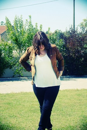brown Zara jacket - black Zara leggings - white H&M t-shirt - brown Moda Alfa he