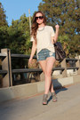 Black-zara-shoes-ivory-jcrew-shirt-light-blue-forever21-shorts