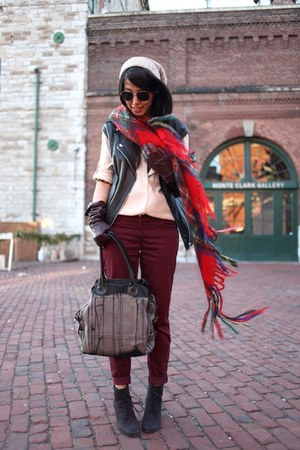 red Scotland scarf - light pink madewell shirt - brick red H&M pants